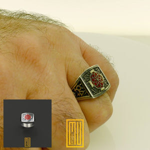 AASR 18th Rose Croix Degree Ring With Red Enamel