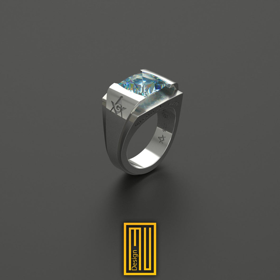 AASR 32nd Degree Masonic Rings with Blue Sky Topaz gemstone