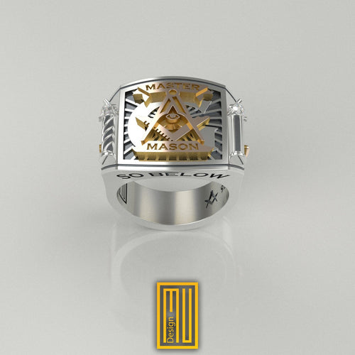 Masonic Ring With Silver Roslyn Chapel Pillars
