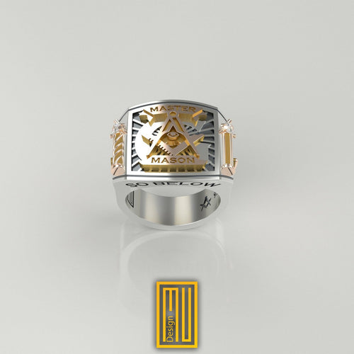 Masonic Ring With golden Roslyn Chapel's Pillars