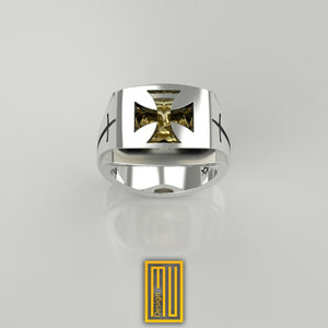 Knights of Templar Ring with Citrine Gemstone