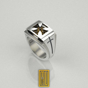 Knights Templar Ring with Citrine Gemstone