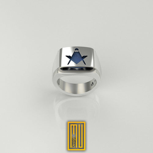 Lapis Gemstone Masonic Ring Without G