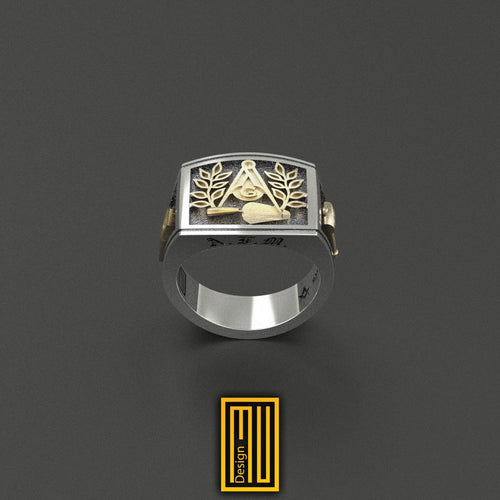 Masonic Ring With Bronze Acacia and Trowel