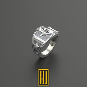 Texas State Sign, Cigar Band Style Masonic Ring Unique Design for Men 925K Sterling Silver