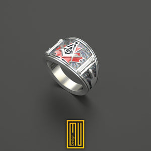 Cigar Band Style Masonic Ring With Canada Flag