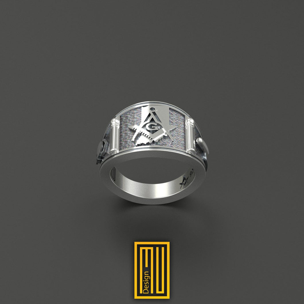 Cigar Band Style Masonic Ring with Indiana State Sign