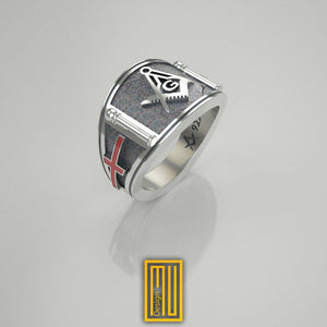 Band Style Masonic Ring With St George Cross