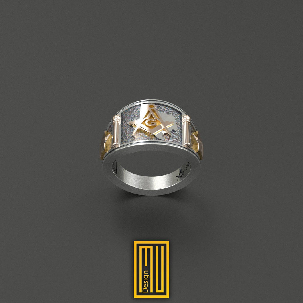 Texas State Sign Masonic Ring Golden Tools