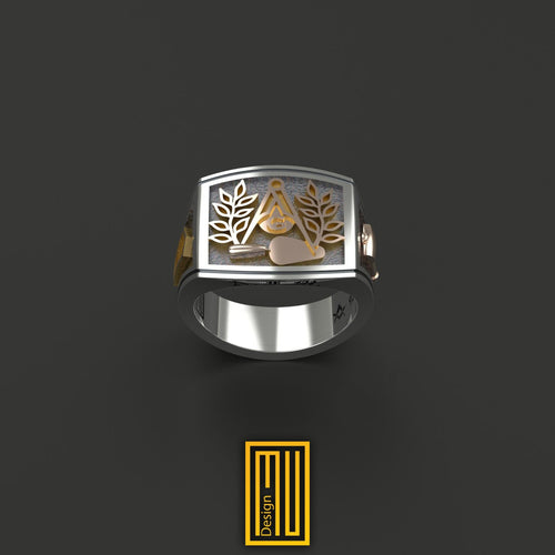 Masonic Ring With Golden Acacia and Trowel