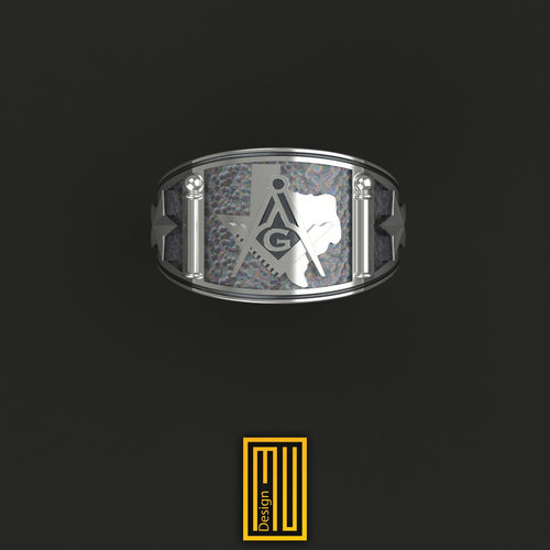 Texas State Sign Masonic Ring silver Tools