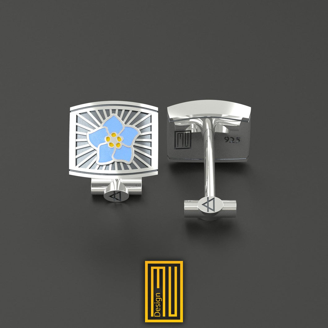 Masonic Forget Me Not Cufflinks Unique Design for Men 925K Sterling Silver and Blue Enamel