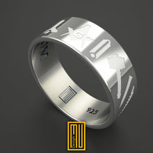Masonic Ring with White Enamel