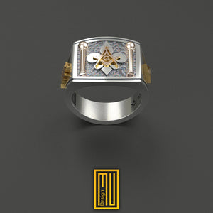 Masonic Ring with Fleur de Lis