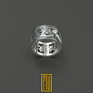 Masonic Wedding Style Past Master Ring Unique Design for Men 925k Sterling Silver