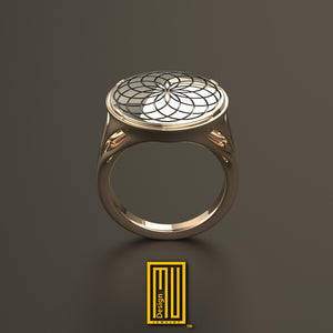 Round shape golden body top face the flower of life
