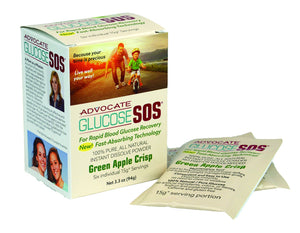 Diabetes HQ - Glucose SOS - Box of 6 x Sachet's - Green Apple Crisp  Flavour