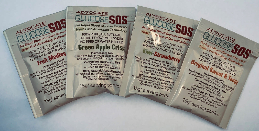 Diabetes HQ - Glucose SOS - SAMPLE Sachet / Packet - All 4 Flavours !