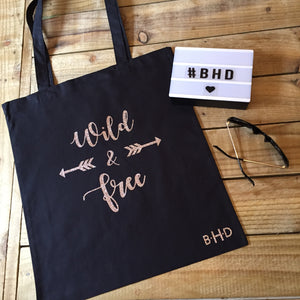 "Rose Gold Glitter ""Wild & Free"" Tote Bag"