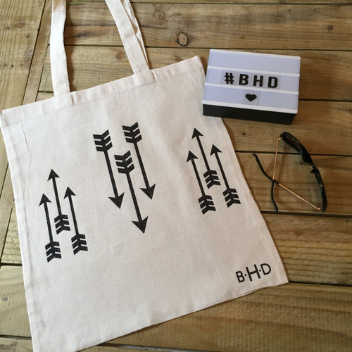 Black Glitter Arrows Tote Bag