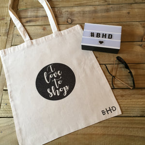 "Black Glitter ""I Love to Shop"" Tote Bag"