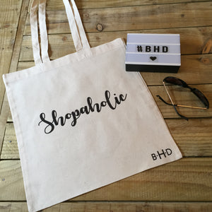 "Black Glitter ""Shopaholic"" Tote Bag"