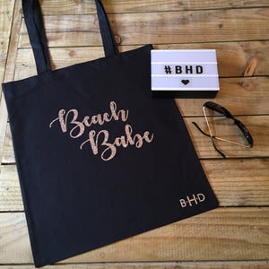 "Rose Gold Glitter ""Beach Babe"" Tote Bag"