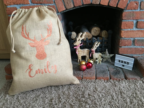 Personalised Reindeer/Stag Christmas Sack