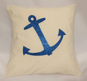 Handmade Blue Glitter Anchor Cushion