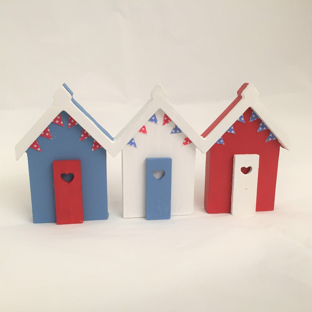 Hand Painted Wooden Mini Beach Huts