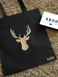 Rose Gold Glitter Stag Head Christmas Tote Bag