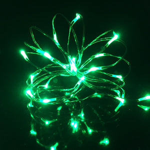 green silver wire micro LED fairy lights, battery operated rice lights