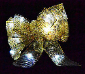 Light Up LED Bows - Gold Silver Blue Red Purple Christmas Decorations