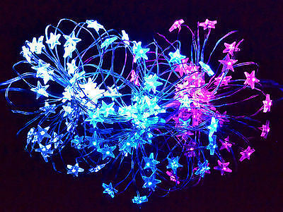 Star Lights LED Silver wire blue pink cool white battery powered
