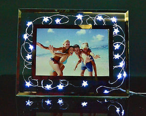 Picture frame with battery operated star fairy lights white
