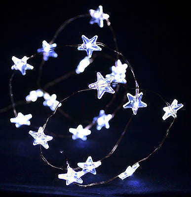 White 20 LED Star String Lights AA Battery Operated Copper Wire
