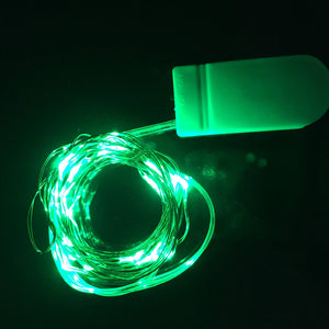 green micro LED fairy lights, 20 rice lights copper wire button battery CR2302