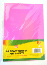 15 x A4 Glossy Art Paper Sheets For Card Making Kids Crafts 5 Assorted Colours