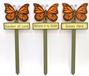 Butterfly garden stakes decorations - Orange
