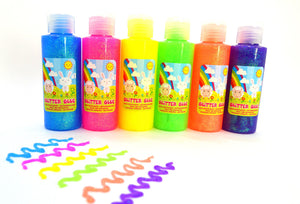 120ml bottles of glitter glue - pastel colours