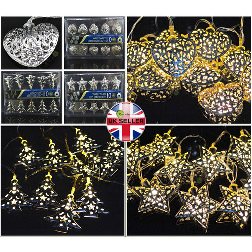 Silver Metal Battery LED Fairy Lights Warm White Love-Heart/Xmas Tree/Star Shape