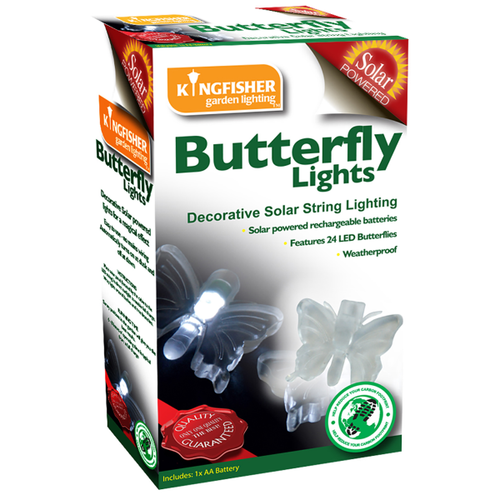 Solar Powered Butterfly or Dragonfly Outdoor Garden Fairy Lights 24 Per String
