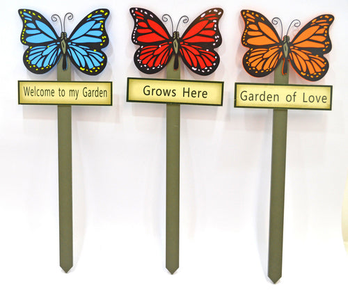 Butterfly garden stakes decorations - assorted colours
