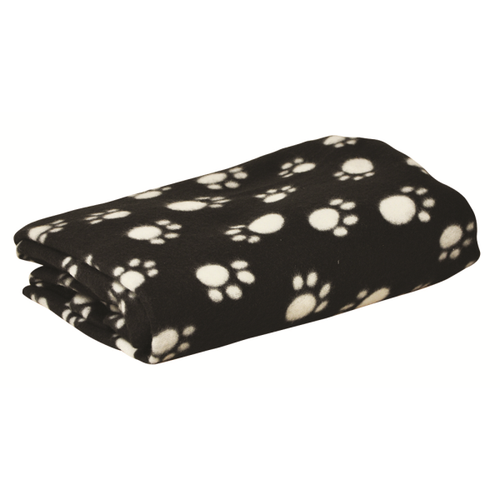 2 x Kingfisher Extra Large Dog/Pet Warm Fleece Blankets 120x150cm Black Paw Print