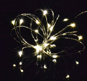 warm white silver wire micro LED fairy lights, battery operated rice lights
