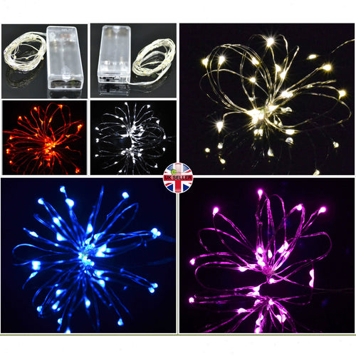 silver wire micro LED battery powered fairy lights, 20 rice lights