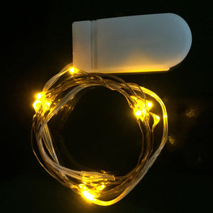 yellow micro LED fairy lights, 20 rice lights copper wire button battery CR2302