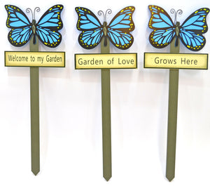 Butterfly garden stakes decorations - Blue