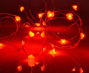 20 Red Love Heart Shaped LED Fairy Lights Battery Operated