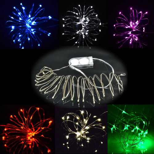 Silver wire battery operated fairy lights bedroom christmas no plug